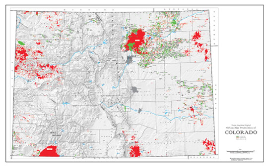 Shaded Relief Map: Colorado Oil & Gas-0