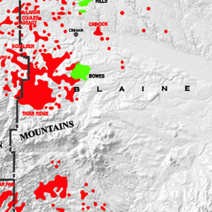 Shaded Relief Map: Montana Oil & Gas-60