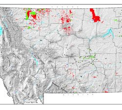Shaded Relief Map: Montana Oil & Gas-0