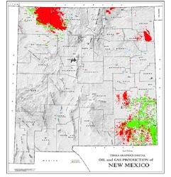 Shaded Relief Map: New Mexico Oil & Gas-0