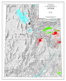 Shaded Relief Map: Utah Oil & Gas-0