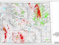 Shaded Relief Map: Wyoming Oil & Gas-0
