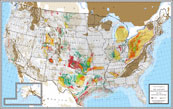 "USA Oil & Gas Production Showing Shale Gas Areas 42"" X 66""-0"
